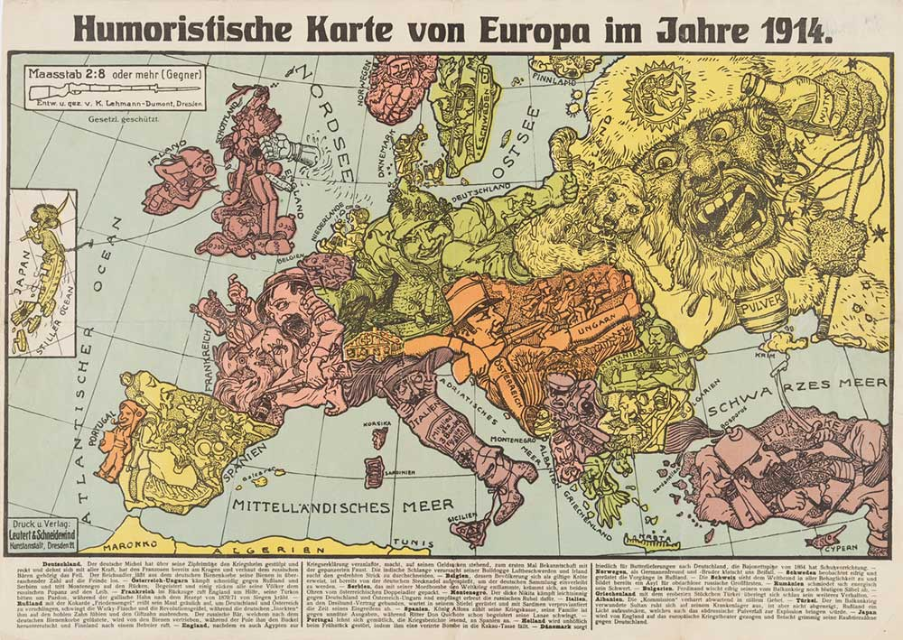 Carta umoristica tedesca che rappresenta la Germania come la vittima innocente dei suoi vicini. Cornell University – PJ Mode Collection of Persuasive Cartography