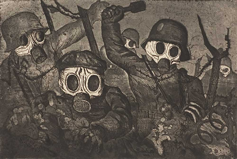 "Otto Dix, ""Assalto sotto i gas"", incisione,1924"
