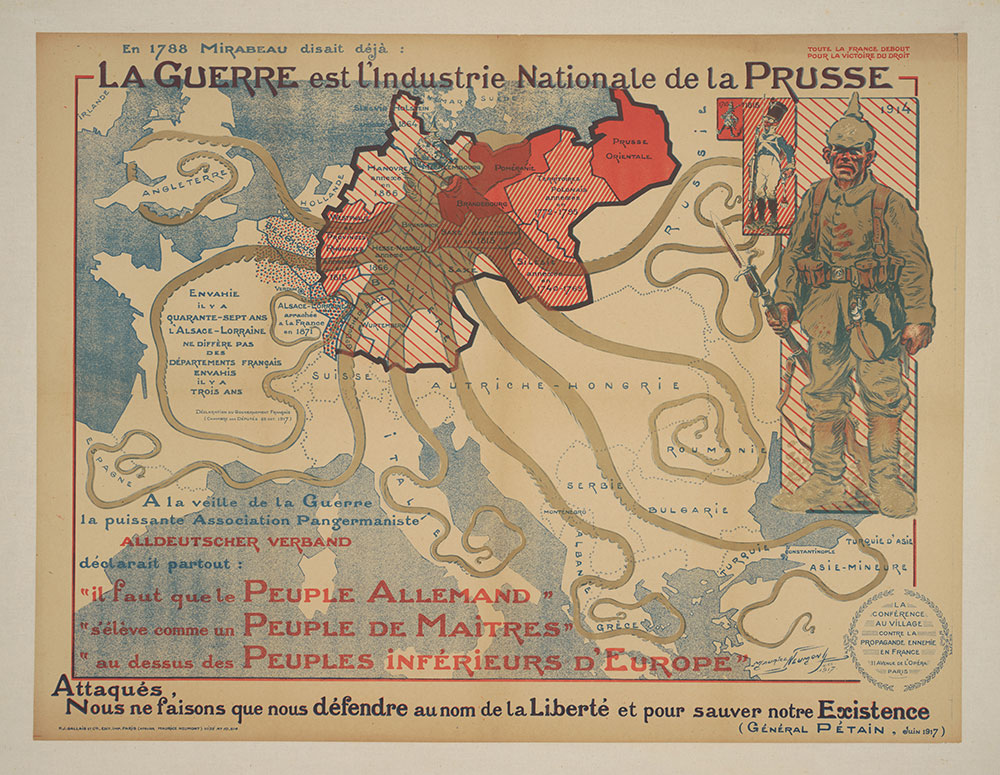 Poster di propaganda francese del 1917. Cornell University - PJ Mode Collection of Persuasive Cartography